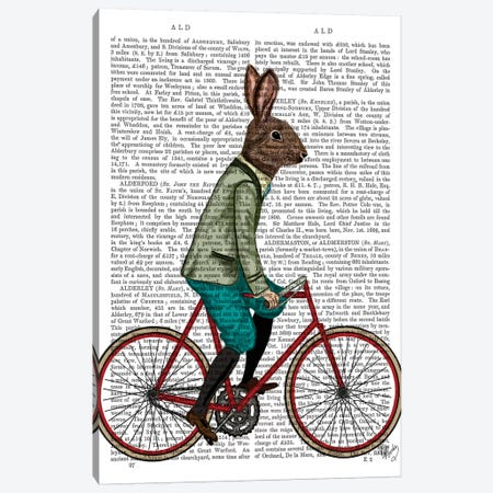 Rabbit On Bike, Print BG Canvas Print #FNK1245} by Fab Funky Canvas Wall Art