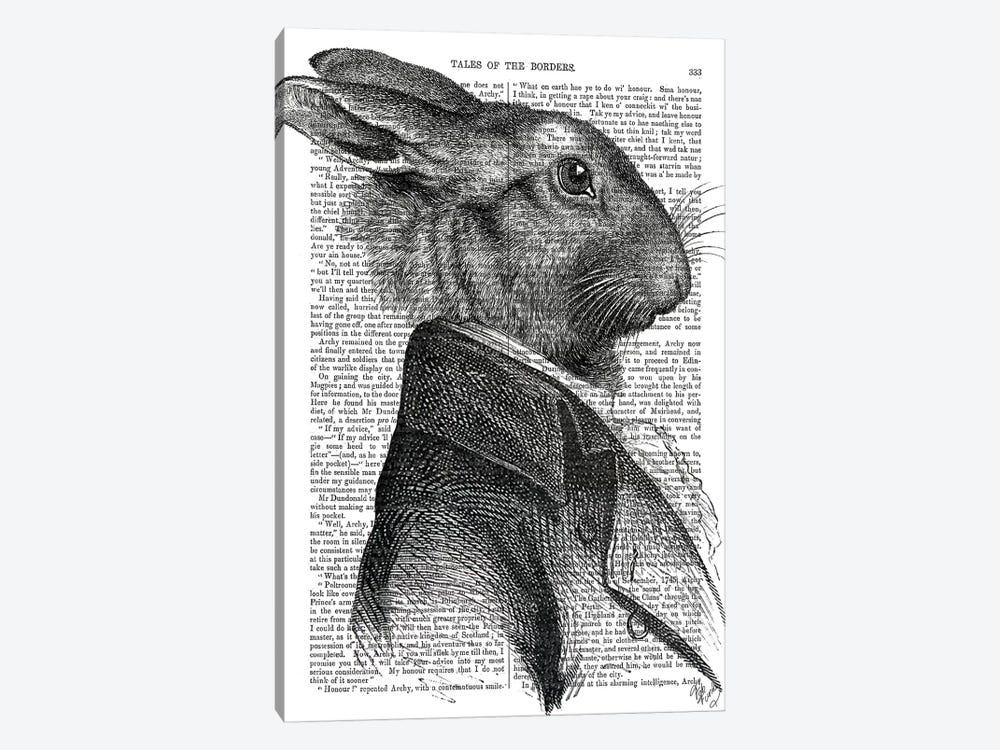 Rabbit Portrait Profile by Fab Funky 1-piece Canvas Wall Art