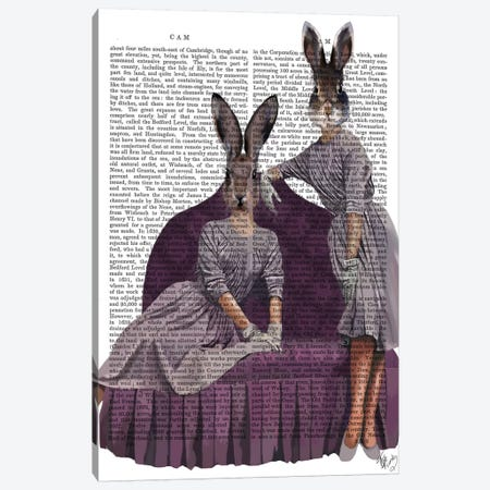 Rabbits In Purple, Print BG Canvas Print #FNK1248} by Fab Funky Canvas Art Print