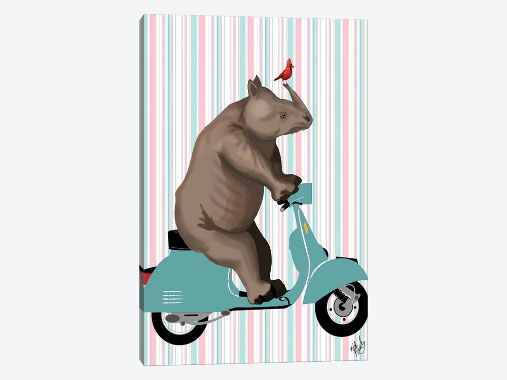 Rhino On Moped by Fab Funky 1-piece Canvas Art