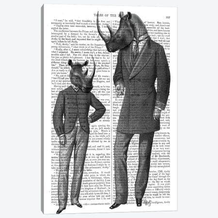 Rhino's Father's Day Canvas Print #FNK1254} by Fab Funky Canvas Print