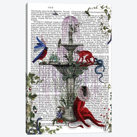 Scarlet Monkey Canvas Print #FNK1255} by Fab Funky Canvas Art Print