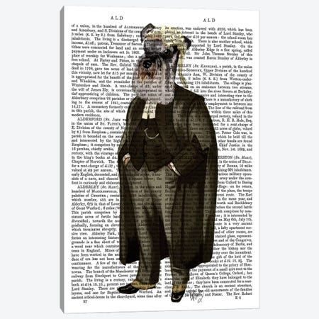 Schnauzer Lawyer, Print BG Canvas Print #FNK1257} by Fab Funky Canvas Print