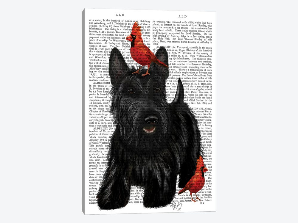 Scottish Terrier & Birds 1-piece Canvas Art Print