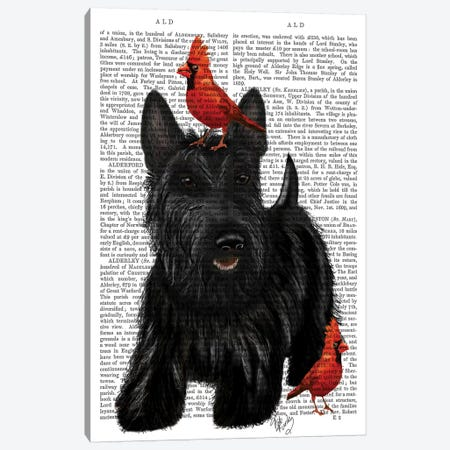 Scottish Terrier & Birds Canvas Print #FNK1258} by Fab Funky Canvas Wall Art