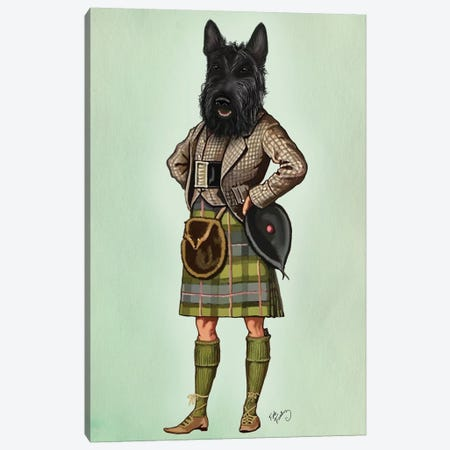 Scottish Terrier In Kilt Canvas Print #FNK1259} by Fab Funky Canvas Artwork