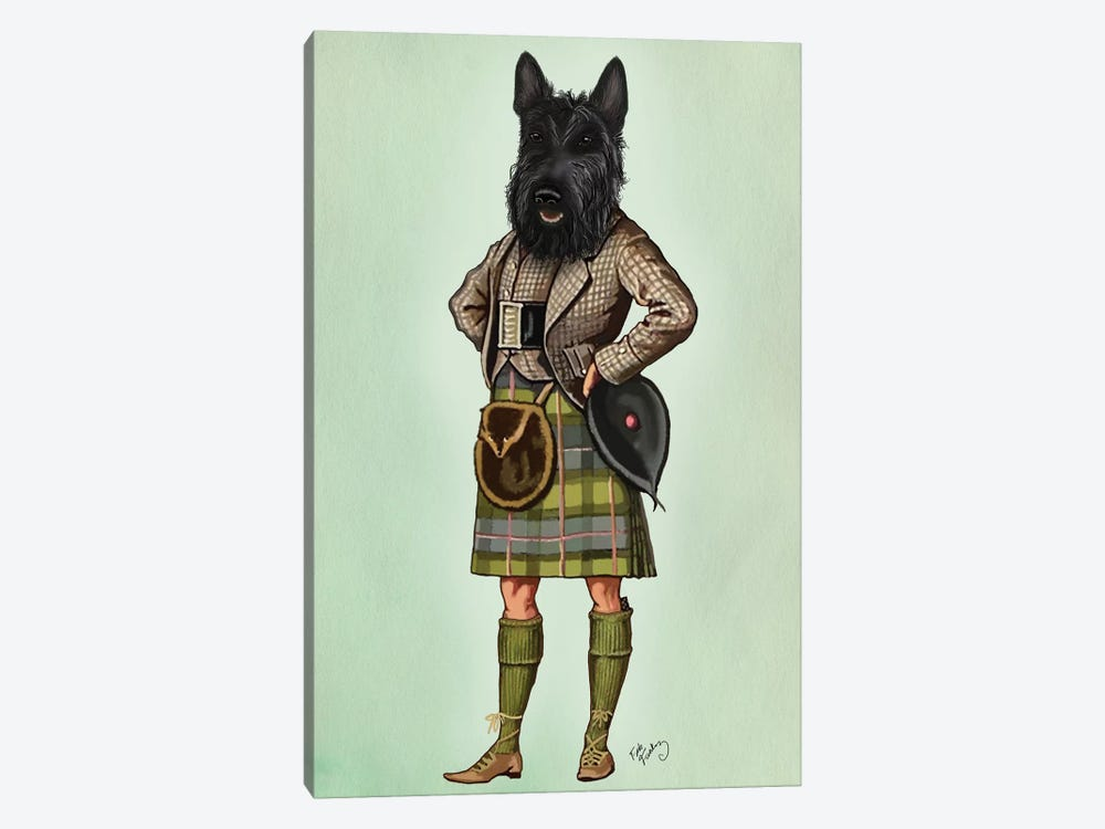 Scottish Terrier In Kilt by Fab Funky 1-piece Canvas Wall Art