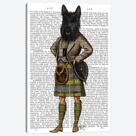 Scottish Terrier In Kilt, Print BG Canvas Print #FNK1260} by Fab Funky Canvas Print