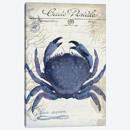 Seaside Postcard On Cream: Crab 3-Piece Canvas #FNK1263} by Fab Funky Canvas Art Print