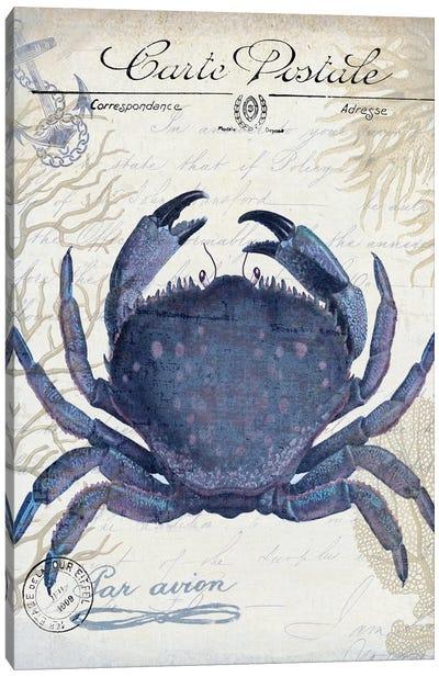 Seaside Postcard On Cream: Crab Canvas Art Print