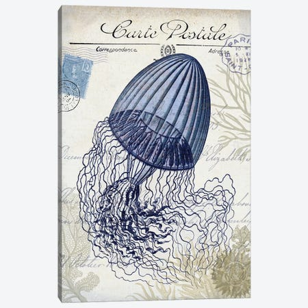 Seaside Postcard On Cream: Jellyfish Canvas Print #FNK1264} by Fab Funky Canvas Wall Art