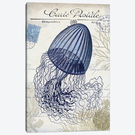 Seaside Postcard On Cream: Jellyfish Canvas Print #FNK1264} by Fab Funky Canvas Wall Art