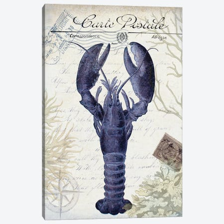 Seaside Postcard On Cream: Lobster Canvas Print #FNK1265} by Fab Funky Canvas Wall Art