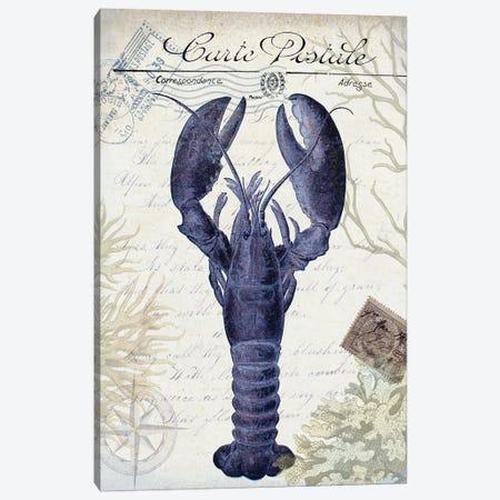 Seaside Postcard On Cream: Lobster 3-Piece Canvas #FNK1265} by Fab Funky Canvas Wall Art