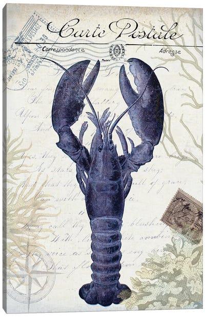 Seaside Postcard On Cream: Lobster Canvas Art Print