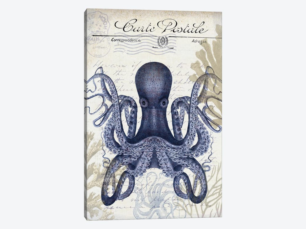 Seaside Postcard On Cream: Octopus by Fab Funky 1-piece Canvas Wall Art