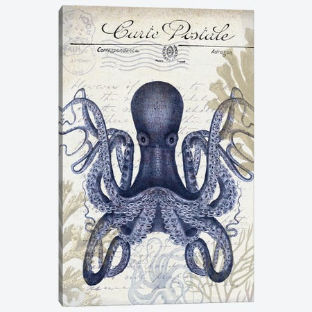 Seaside Postcard On Cream: Octopus Canvas Print #FNK1266} by Fab Funky Canvas Artwork