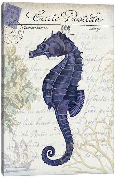 Seaside Postcard On Cream: Seahorse Canvas Art Print