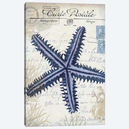Seaside Postcard On Cream: Starfish Canvas Print #FNK1268} by Fab Funky Canvas Art Print