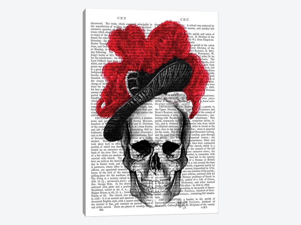 Skull With Red Hat by Fab Funky 1-piece Canvas Artwork