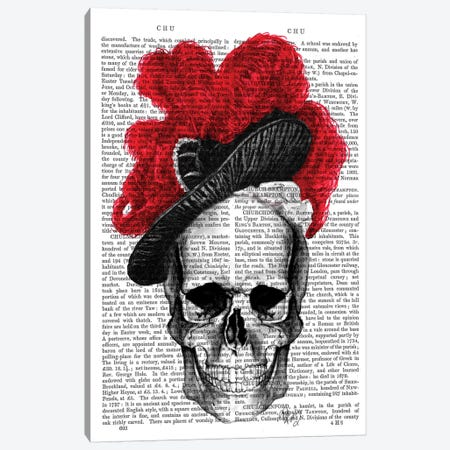 Skull With Red Hat 3-Piece Canvas #FNK1271} by Fab Funky Canvas Art