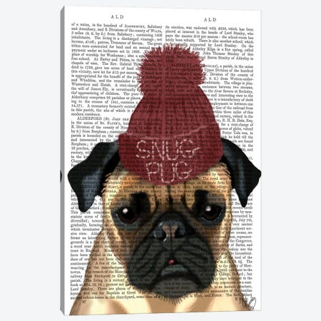 Snug Pug Canvas Print #FNK1272} by Fab Funky Canvas Wall Art