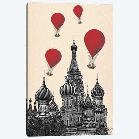 St Basil's Cathedral & Red Hot Air Balloons Canvas Print #FNK1274} by Fab Funky Art Print