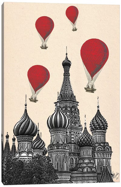 St Basil's Cathedral & Red Hot Air Balloons Canvas Art Print