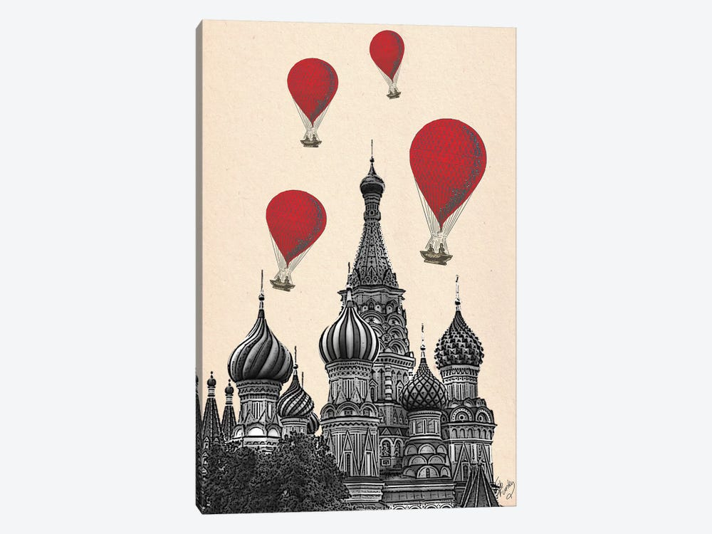 St Basil's Cathedral & Red Hot Air Balloons by Fab Funky 1-piece Canvas Art Print