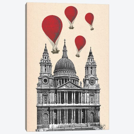 St Paul's Cathedral & Red Hot Air Balloons Canvas Print #FNK1275} by Fab Funky Art Print
