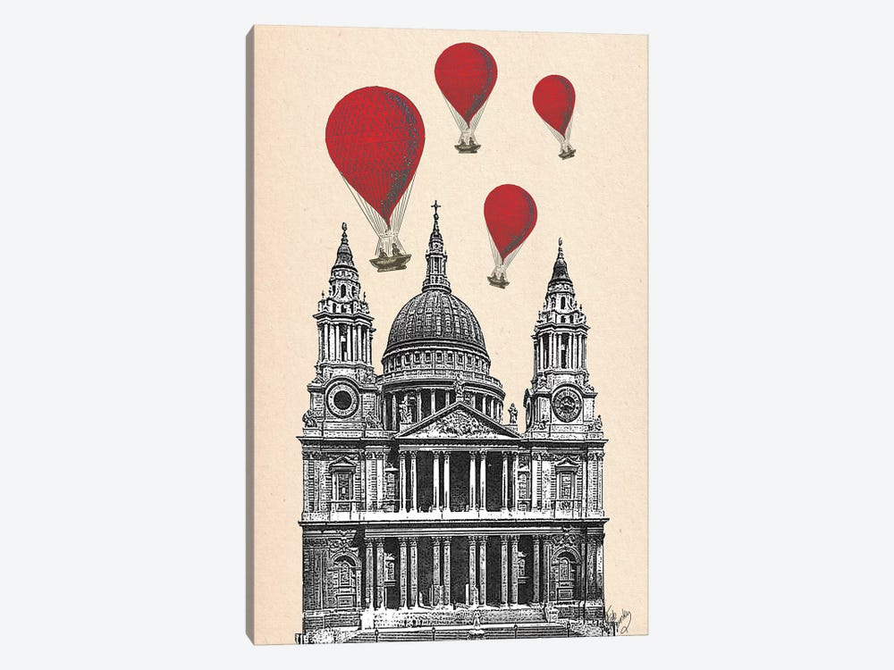 St Paul's Cathedral & Red Hot Air Balloons by Fab Funky 1-piece Canvas Art