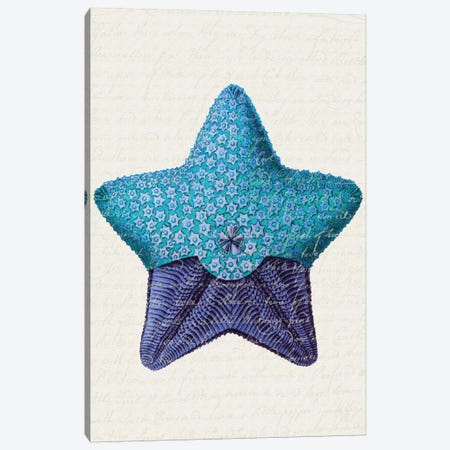 Starfish In Shades Of Blue I Canvas Print #FNK1276} by Fab Funky Art Print