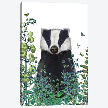 Badger In The Garden II Canvas Print #FNK127} by Fab Funky Canvas Art