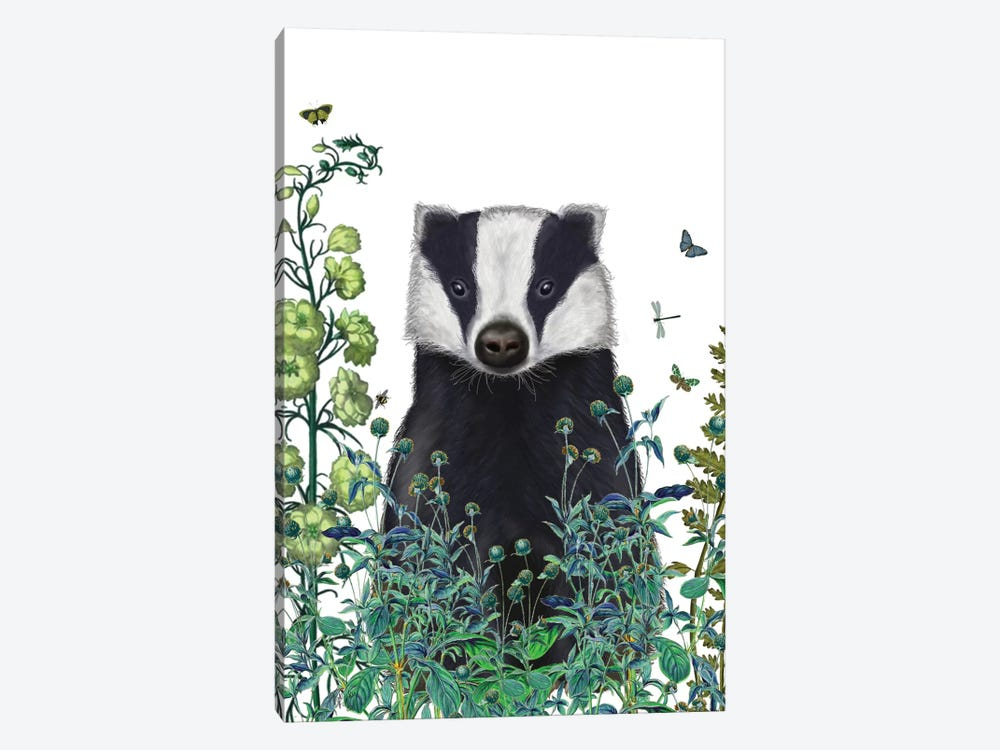 Badger In The Garden II by Fab Funky 1-piece Canvas Art
