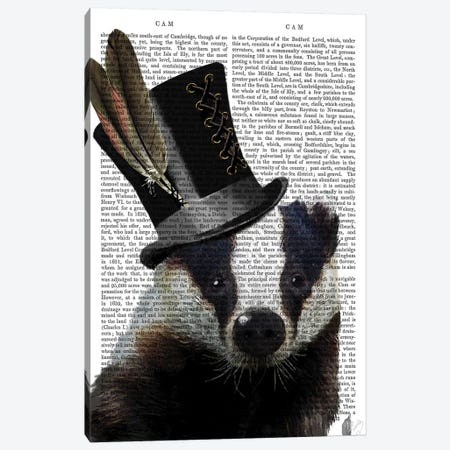 Steampunk Badger In Top Hat Canvas Print #FNK1280} by Fab Funky Canvas Art Print