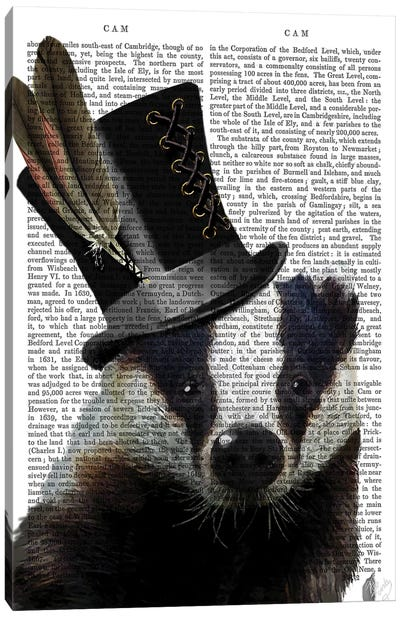 Steampunk Badger In Top Hat Canvas Art Print
