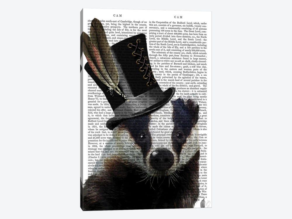 Steampunk Badger In Top Hat by Fab Funky 1-piece Canvas Art