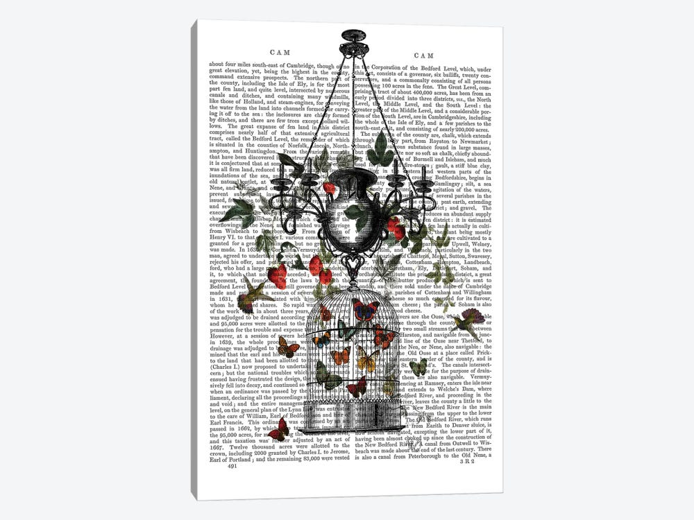 Strawberry Chandelier by Fab Funky 1-piece Canvas Print