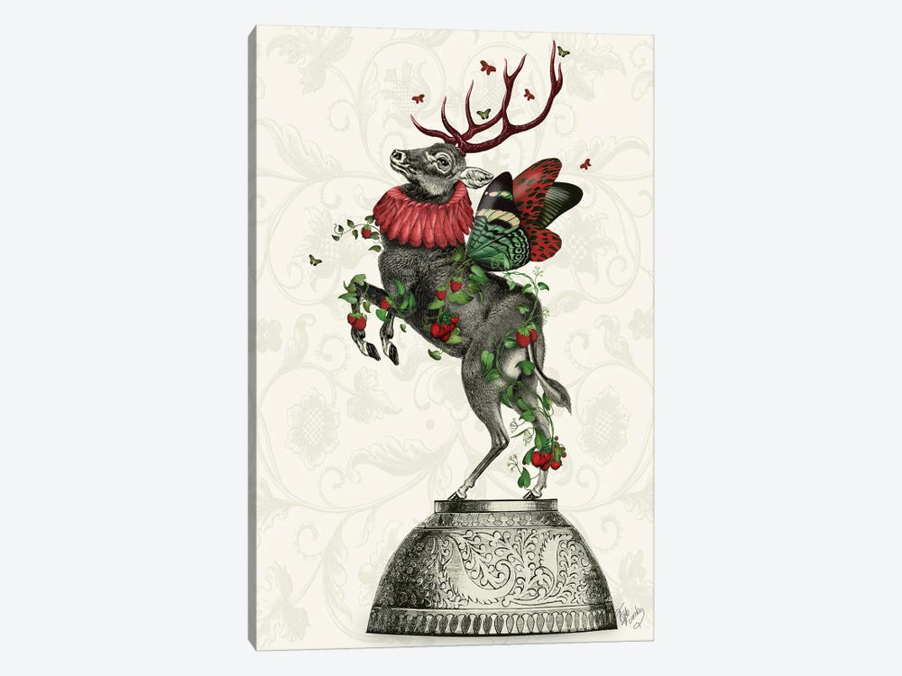 Strawberry Deer by Fab Funky 1-piece Canvas Artwork