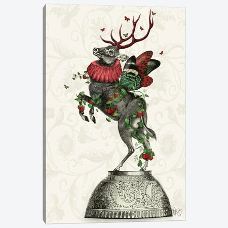 Strawberry Deer Canvas Print #FNK1284} by Fab Funky Canvas Wall Art