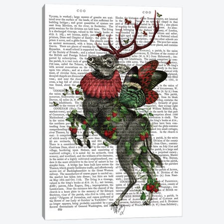 Strawberry Deer, Print BG Canvas Print #FNK1285} by Fab Funky Canvas Art