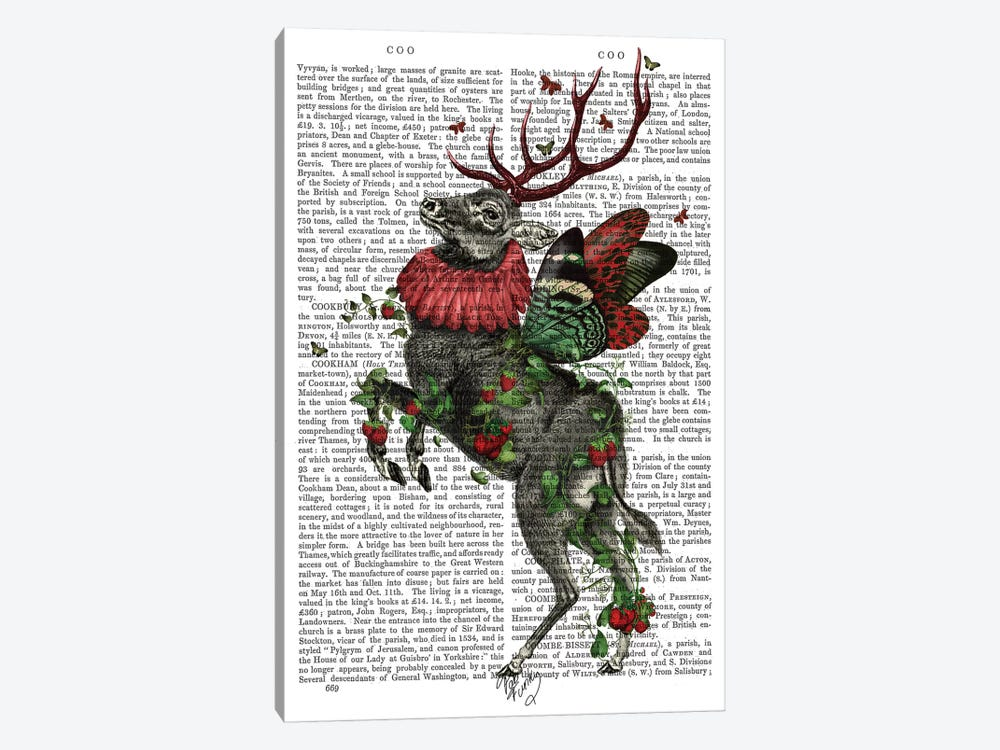 Strawberry Deer, Print BG by Fab Funky 1-piece Canvas Print
