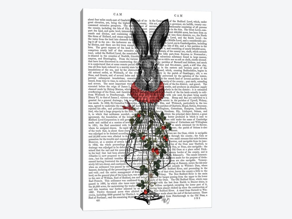Strawberry Hare by Fab Funky 1-piece Canvas Artwork