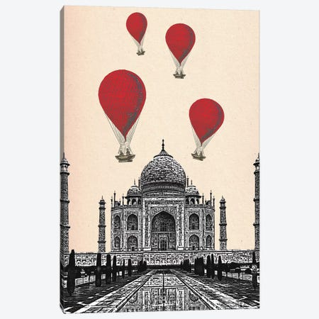 Taj Mahal & Red Hot Air Balloons Canvas Print #FNK1287} by Fab Funky Canvas Wall Art