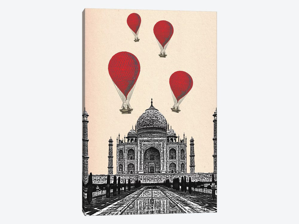 Taj Mahal & Red Hot Air Balloons by Fab Funky 1-piece Canvas Art Print