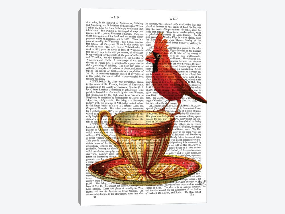 Teacup & Red Cardinal by Fab Funky 1-piece Art Print