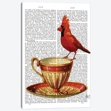 Teacup & Red Cardinal 3-Piece Canvas #FNK1289} by Fab Funky Canvas Print
