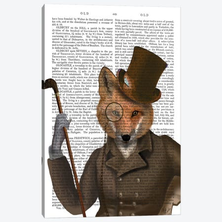 The Bounder Fox Canvas Print #FNK1290} by Fab Funky Canvas Artwork