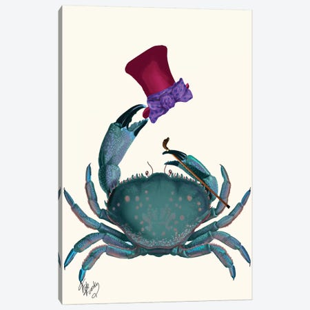 The Dandy Crab Canvas Print #FNK1291} by Fab Funky Canvas Artwork