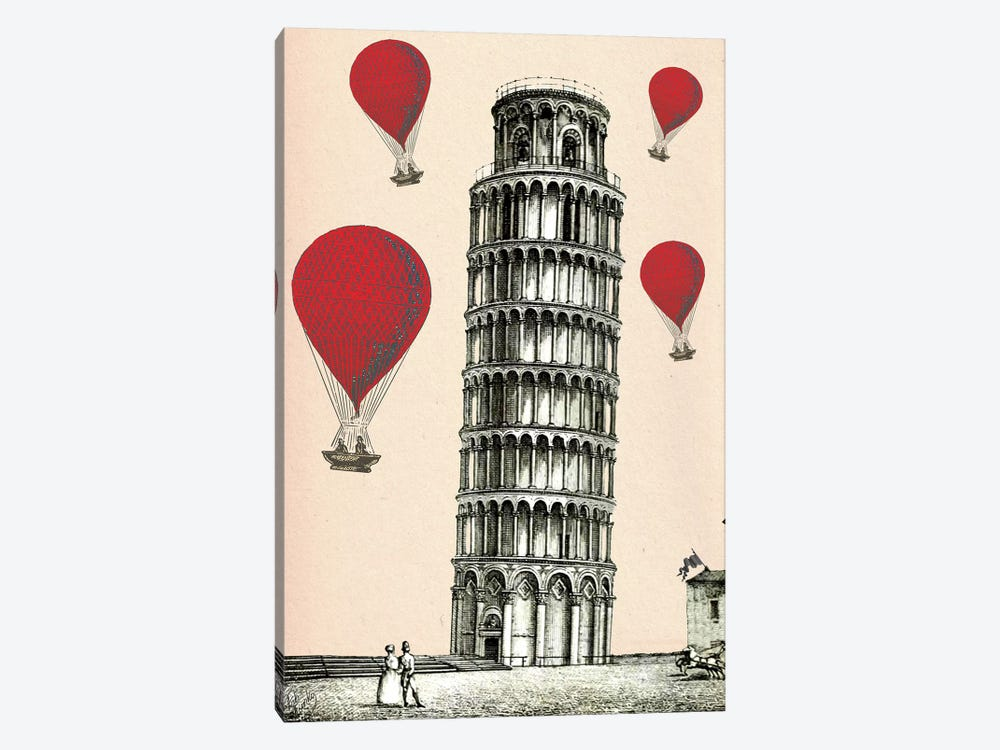 Tower Of Pisa & Red Hot Air Balloons by Fab Funky 1-piece Canvas Wall Art